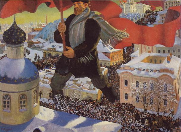 """Boris Michailowitsch Kustodijew """"Der Bolschewik"""" (1920)"""