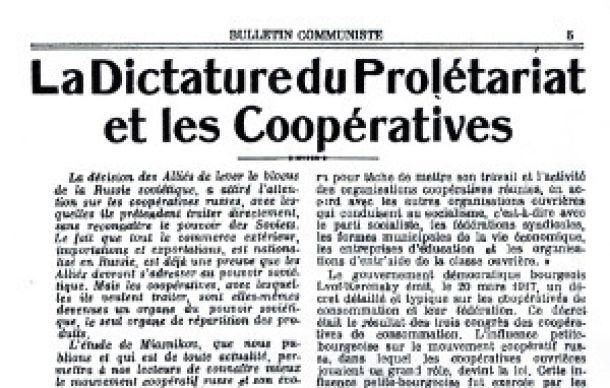 L'Internationale communiste et les coopératives