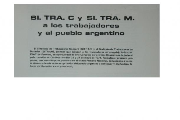"""""""SiTraC e SiTraM ai lavoratori e al popolo argentino"""""""