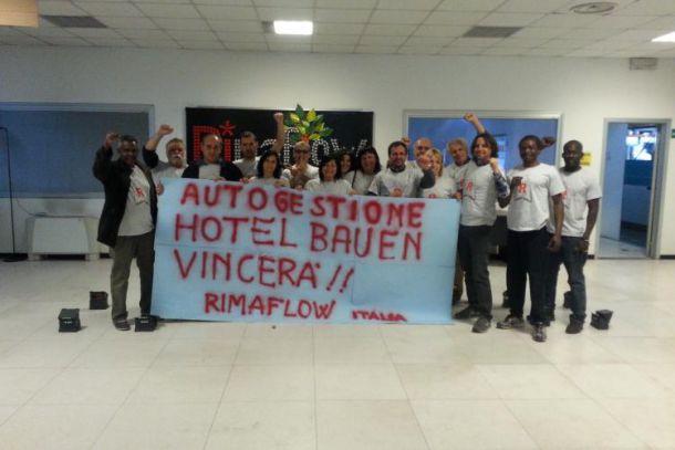 Lavoratrici e lavoratori RiMaflow in solidarietà con il Bauen.
